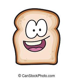 fatia, feliz, caricatura, pão, sorrindo, ilustração