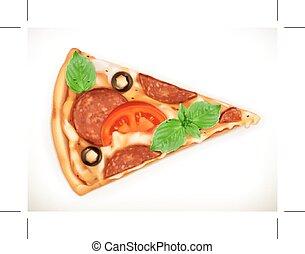 fatia, ilustração, pizza