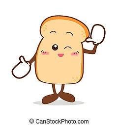 fatia, isolado, bread-07, sorrizo, feliz, caricatura, pão
