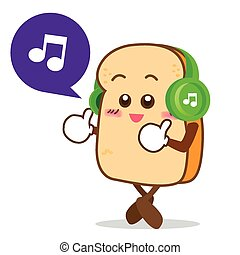 fatia, isolado, escutar música, sorrizo, feliz, caricatura, pão