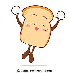 fatia, isolado, pular, sorrizo, feliz, caricatura, pão