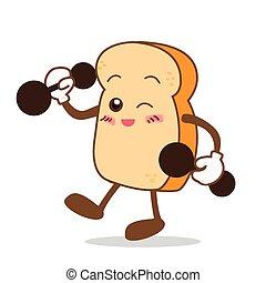 fatia, isolado, sorrizo, feliz, caricatura, pão