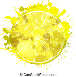 fatia, limão, coloridos, feito, esguichos, fundo, branca