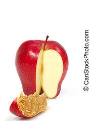 fatia maçã, com, manteiga amendoim