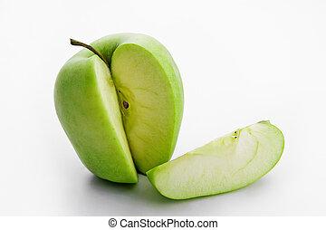 fatia, maçã verde, maduro