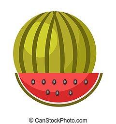 fatia, maduro, isolado, ilustração, melancia, pequeno,...