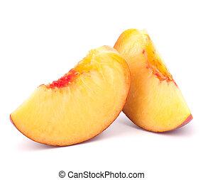 fatia, maduro, pêssego, fruta