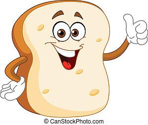 fatia pão, caricatura