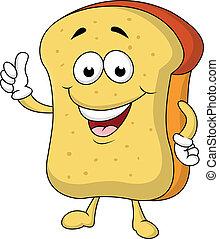 fatia pão, caricatura, personagem