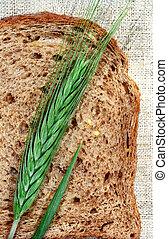 fatia, pão centeio