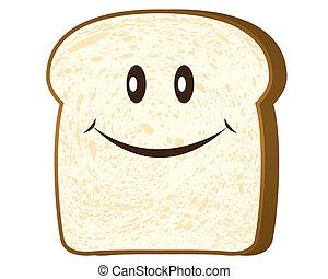 fatia pão, isolado, branco