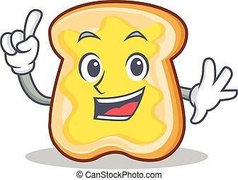 fatia pão, personagem, caricatura, dedo