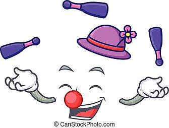 fatia pão, personagem, caricatura, juggling