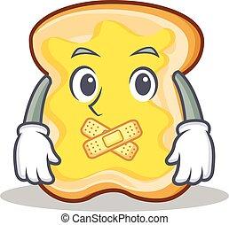 fatia pão, personagem, caricatura, silencioso