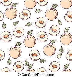 fatia, pêssego, padrão, seamless, mão, desenhado