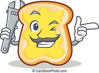 fatia, personagem, caricatura, mecânico, pão