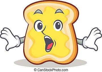 fatia, personagem, caricatura, surpreendido, pão