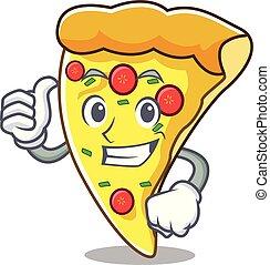 fatia, personagem, cima, polegares, caricatura, pizza