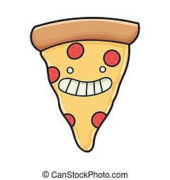 fatia, pizza, feliz, caricatura, sorrindo