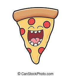 fatia, pizza, rir, feliz, caricatura
