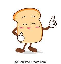 fatia, ponto, isolado, dedo, sorrizo, feliz, caricatura, pão