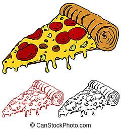 fatia, suculento, pizza