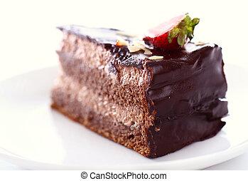 fatia, topo, chocolate, moranguinho, gostoso, bolo