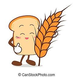 fatia, trigo, isolado, sorrizo, pão, caricatura, feliz