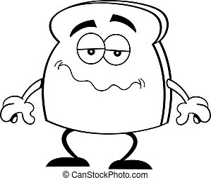 fatia, &, whi, (black, caricatura, pão