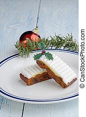 fatias, closeup, decorações natal, bolo, fruta