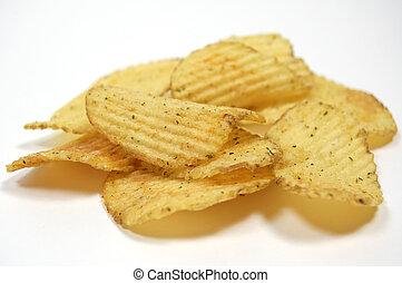 fatias, de, batatas fritas, com, verdes