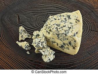 fatias, de, queijo azul, ligado, tabela madeira