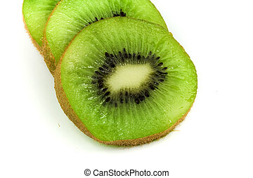 fatias, de, verde, kiwi