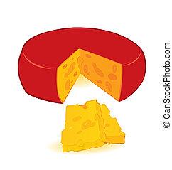 fatias, queijo, vetorial, roda