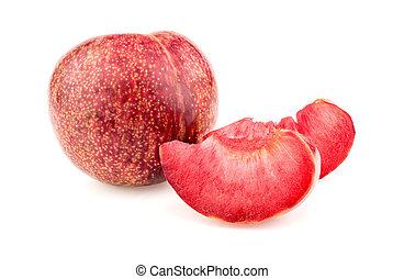 fatias, suculento, fruta, pluot, gostosa, branca, inteiro