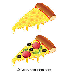 fatias, vetorial, ilustração, pizza