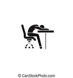 Fatigability black vector concept icon. Fatigability flat...