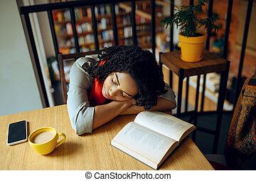 fatigué, étudiant féminin, sommeils, table café