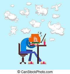 fatigué, doux, dormir, forme, informatique, sommeil, chaise, avant, rêves, fonctionnement, séance, computer., tomber, regarder, animals., rêves, homme, nuages, illustration., surmené, quoique, vecteur