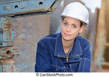 fatigué, femme, ingénieur