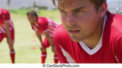 fatigué, football, pendant, formation, joueur