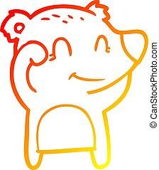 fatigué, gradient, ligne, ours, dessin, chaud, sourire, dessin animé