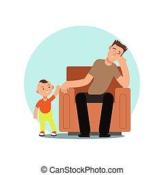 fatigué, père, illustration, vecteur, endormi, chaise