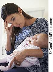 fatigué, souffrance, natal, mère, poste, dépression
