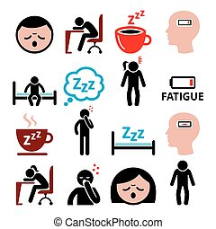 Fatigue vector icons set, tired, sressed or sleepy man and woman design