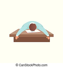 Fatigued young man sleeping at the desk, student in learning process vector Illustration on a white background