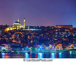 Fatih Mosque Istanbul - Fatih Mosque and bay Golden Horn at...