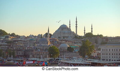 Old town of Istanbul at sundown - Fatih - Old town of...