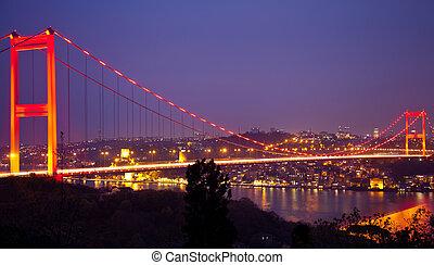Fatih Sultan Mehmet Bridge at the night istanbul Turkey
