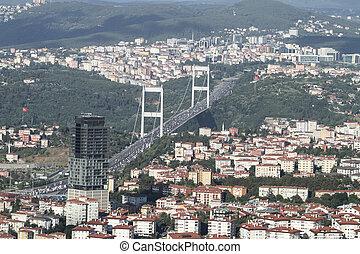 Fatih Sultan Mehmet bridge in Istanbul City, Turkey